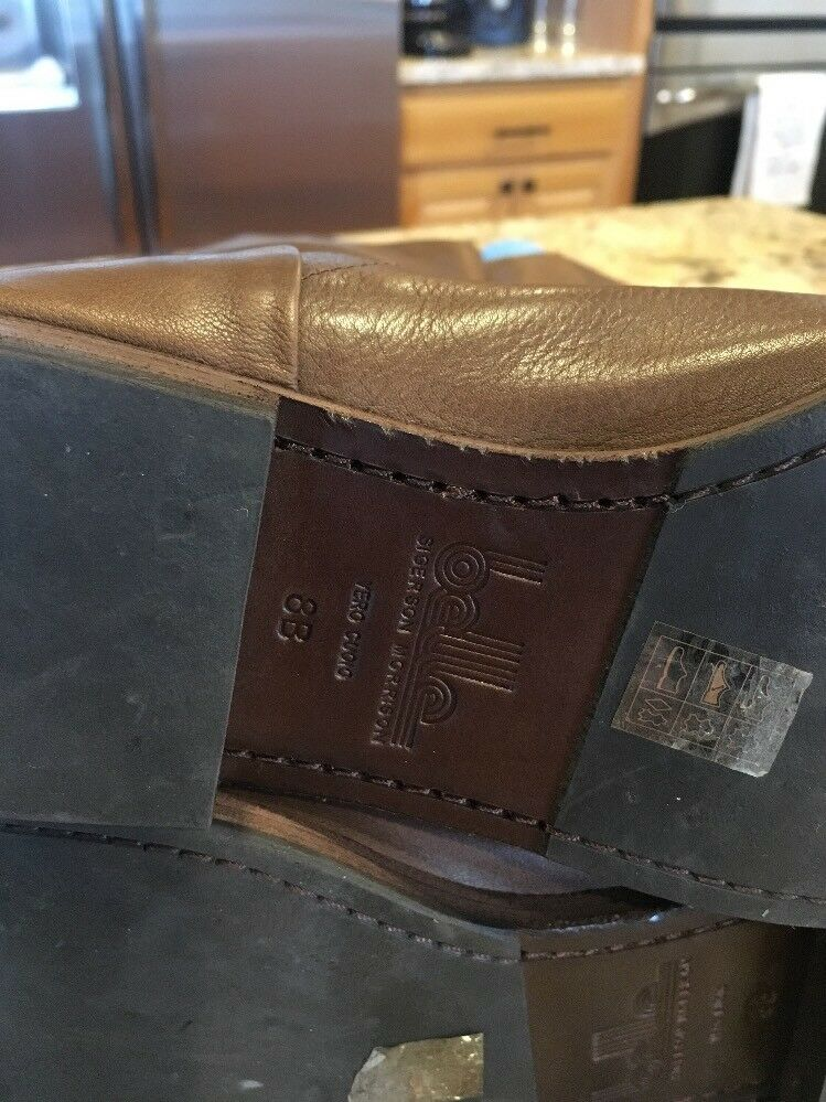 Belle Sigerson Sigerson Sigerson Morrison Brown Leather Knee High Flat Boots Back Zipper 8B fb08c4