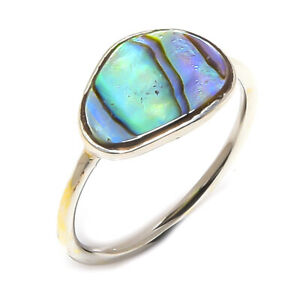 925 Sterling Silver Abalone Shell Ring Size 6
