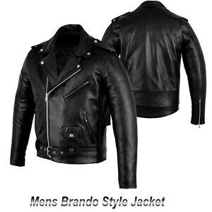 Motorbike-Motorcycle-Fashion-Real-Leather-Brando-Style-Jacket-Black-Waterproof