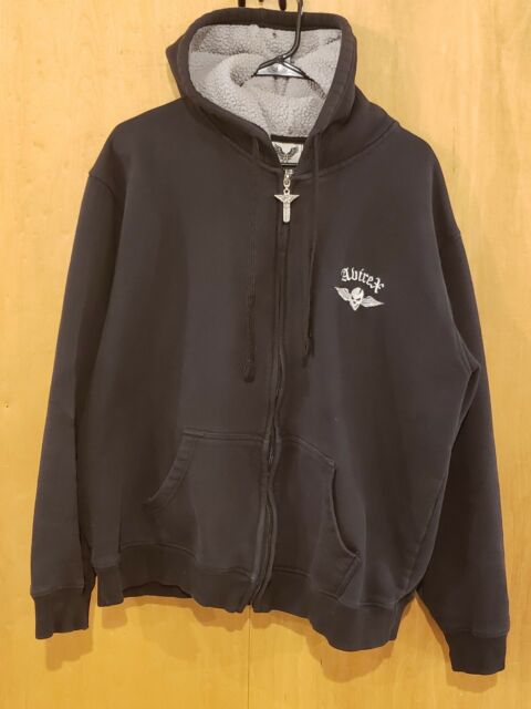 Avirex Black Full Zip Hoodie Mens Size XL