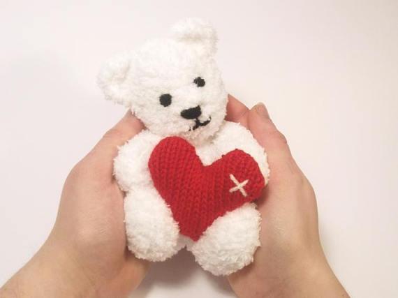 Little Valentines Teddy Bear Knitting Pattern Ebay