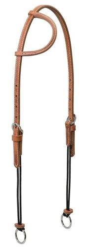 Russet Weaver Leather Sliding Ear Gag Bridle with Silvertip Rope Cheeks