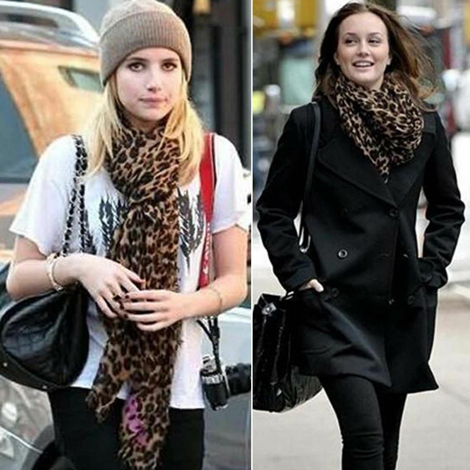 Moda da Donna Animale Leopardato Morbido Chiffon Sciarpa da Donna Grande Scialle