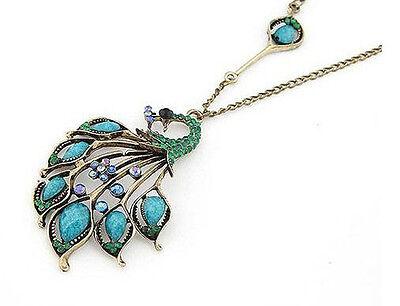 New Fashion Retro Bronze Rhinestone Resin Peacock Pendant Necklace Long Chain