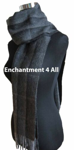 Black New 100/% 2-Ply Cashmere Classic Plaid Scarf