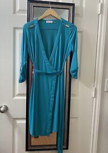 NWOT-Calvin-Klein-Faux-Wrap-Dress-Blue-10