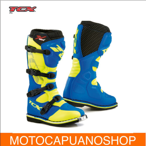 STIVALI CROSS ENDURO MOTO TCX X-BLAST BLU GIALLO FLOU TG.43