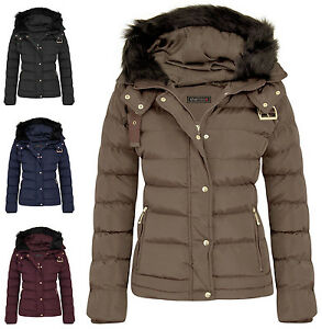 Womens Quilted Pocket Belt Padded Jacket Proof Warm Fur Zip Hooded
