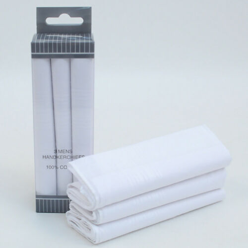3 Men/'s Boxed White Cotton 16x16 Stitched Clerricci Handkerchiefs