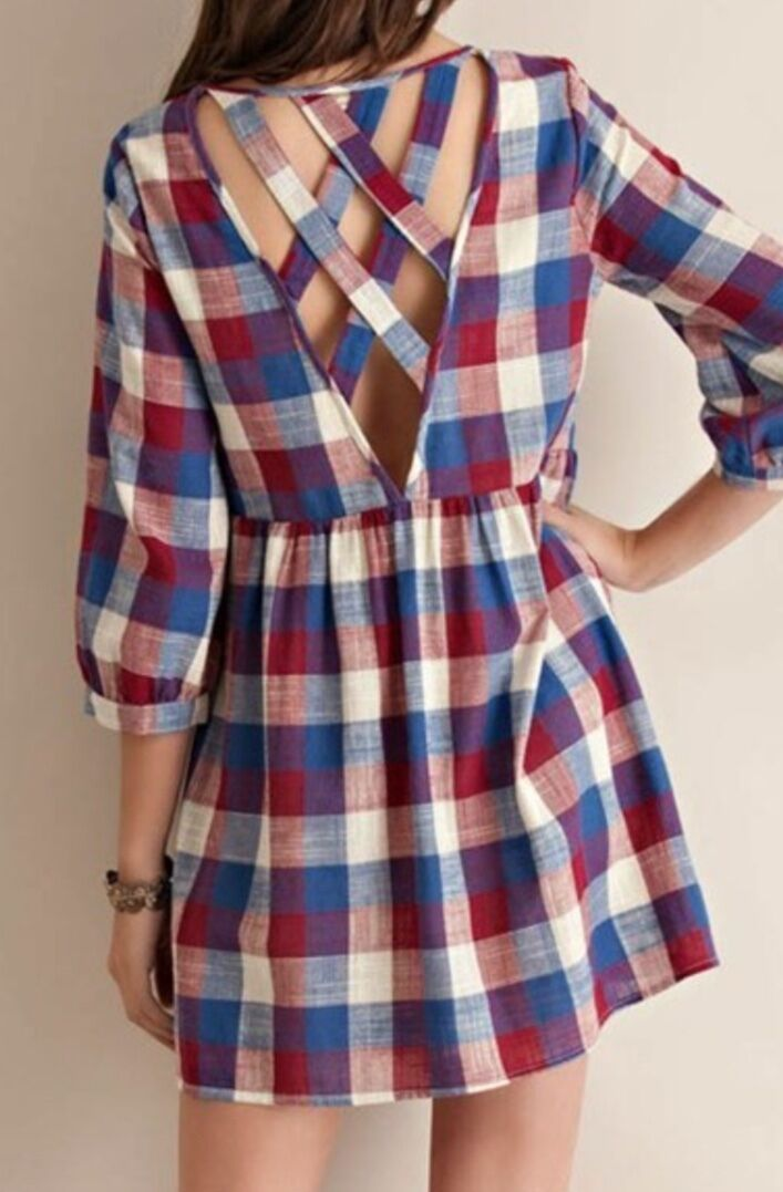 4th of July Plaid Babydoll Dress - Size Large