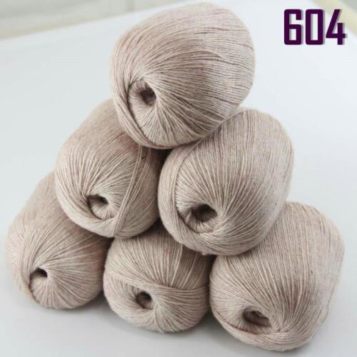 Sale New 6 ballsx50g Super Fine Pure 100/% Cashmere Hand Knitting Yarn 604 Beige