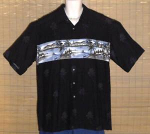 Pierre Cardin Hawaiian Shirt Black Islands Palms Mountains Large