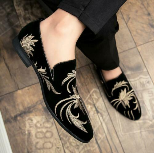 Men/'s Suede Business Dress Shoes Embroidered Pointed Toe Shoes Slip On Loafers