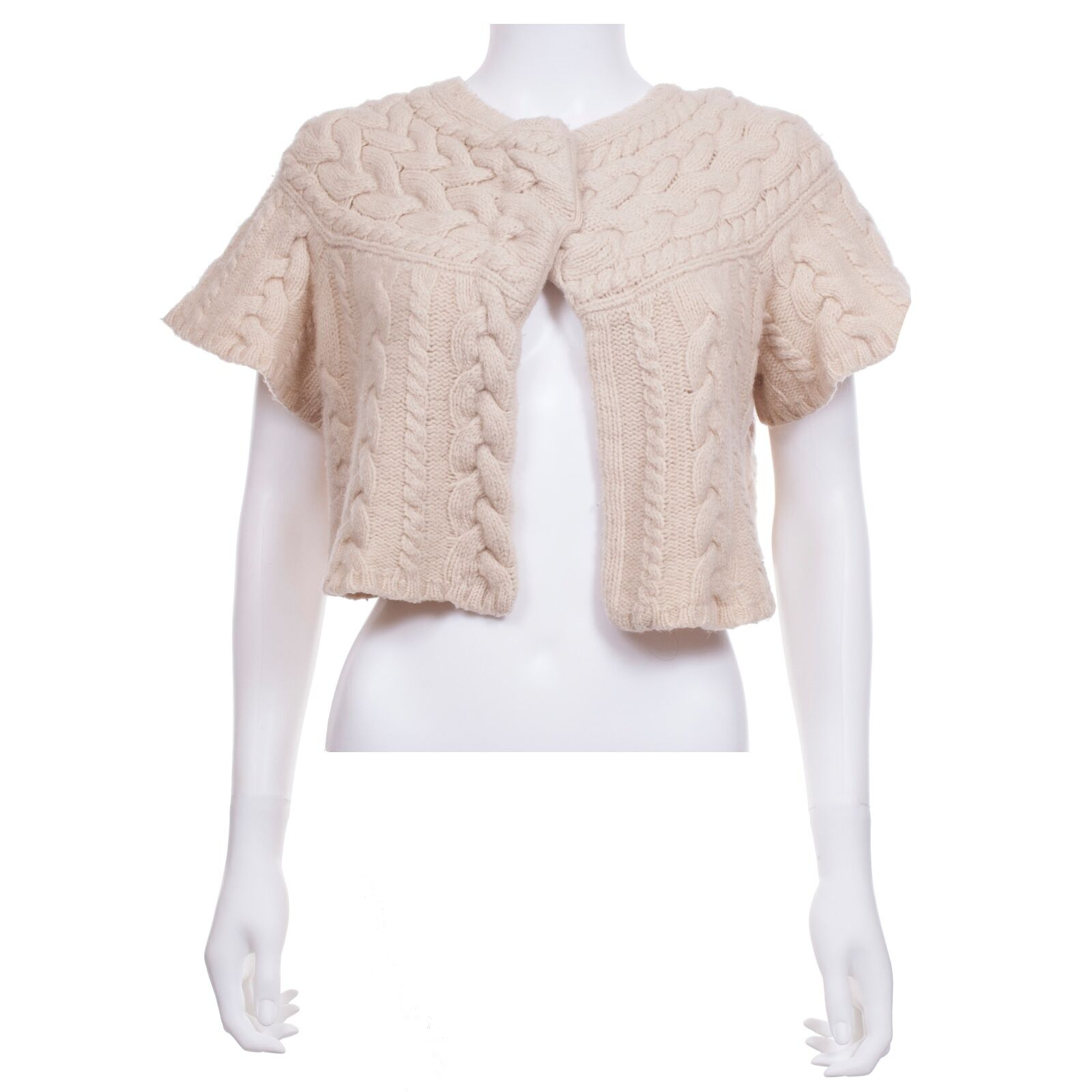 BCBGMAXAZRIA cream cropped cable knit short-sleeve cardigan sweater size M