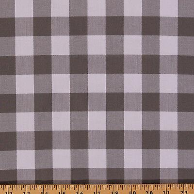 "Cotton Carolina Gingham 1/"" Black White Buffalo Plaid Fabric Print BTY D470.40"