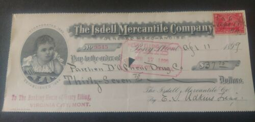 - PONY MONTANA BANK CHECK Revenue Stamp Isdell Mercantile Co Old 1899