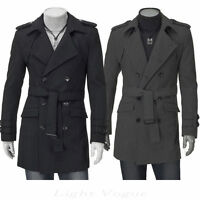 New Men's Slim Stylish Trench Coat Winter Long Jacket Double Breasted Overcoat /