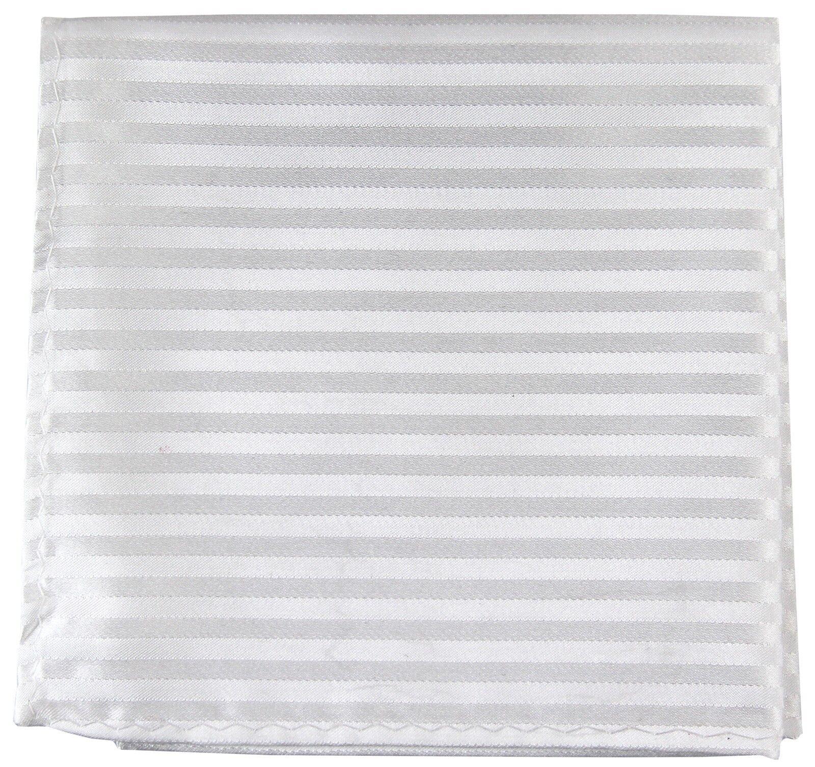 New Men's Polyester Woven pocket square hankie only white tone on tone stripes