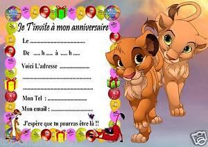 Détails Sur 5 Cartes Invitation Anniversaire Le Roi Lion 03 Dautres Articles En Vente