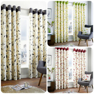 Fusion-BEECHWOOD-Eyelet-Curtains-100-Cotton-Modern-Leaf-Trail-Ready-Made-Lined