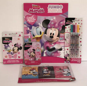 5pc-Disney-Minnie-Mouse-Gift-Set-Coloring-Book-Crayon-Glitter-Pens-Puzzle-Cards
