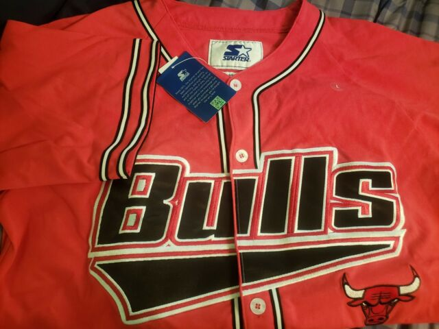 Chicago BULLS Baseball Jersey by STARTER -THE PLAYER NBA Red Black BNWT MSRP $80