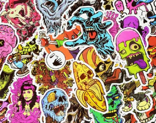 50 Pcs Terror Series Sticker Skate Graffiti Laptop Luggage Bomb Decals Dope Pack