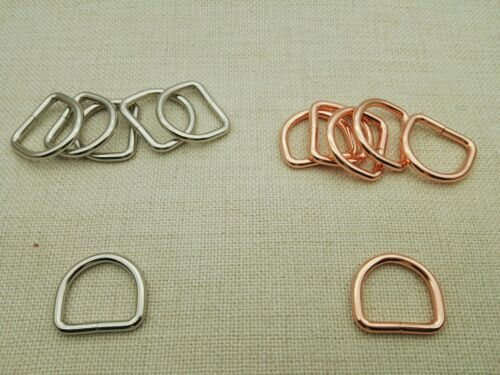 10-50 x 1/'/' Silver 25mm Welded Heavy D rings Rose Gold color