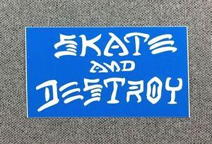 Skate-And-Destroy-Skateboard-Sticker-3in-Thrasher-white-blue-si