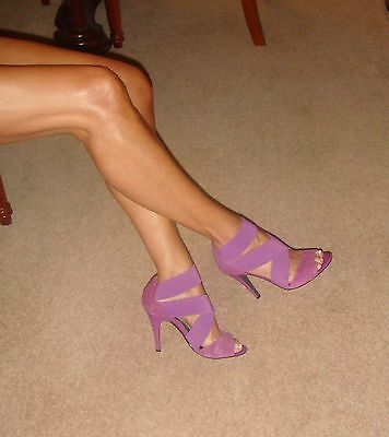 Next Shoes Size 4 Sexy Purple Suede-Effect/Patent-Look Elastic Strappy Heels