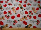 Valentines Day Fabric BTY By Yard Vintage Sweethearts Kids Hearts Floral Cotton