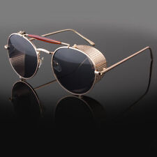 b3f7f2175c item 7 Mens Gold Vintage Retro Steampunk Gothic Side Shield Hipster Round  Sunglasses -Mens Gold Vintage Retro Steampunk Gothic Side Shield Hipster  Round ...