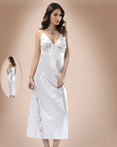 Women White Satin and Lace Nightdress   European Products