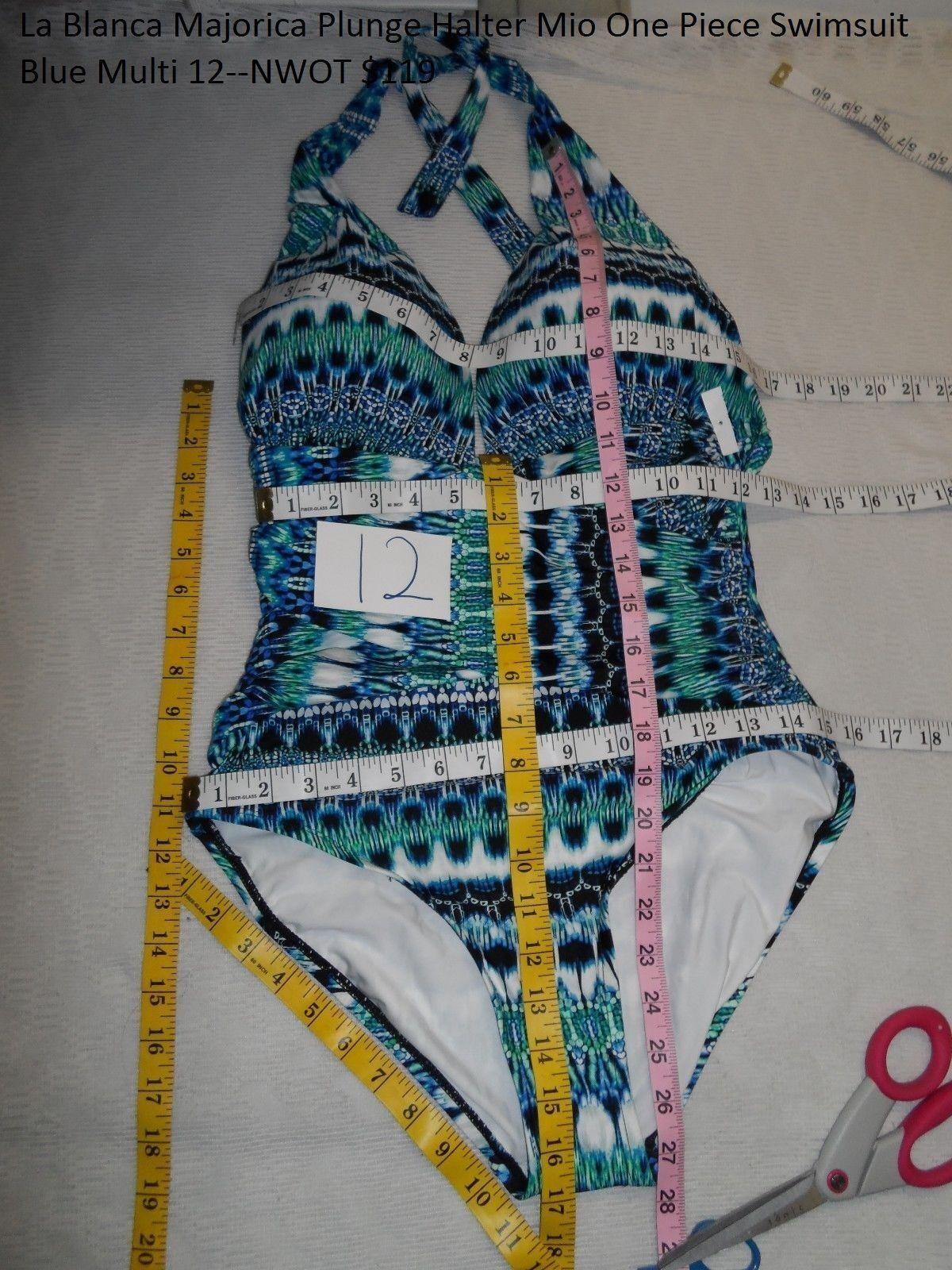 La whitea Majorica Plunge Halter Mio One Piece Swimsuit bluee Multi 12--NWOT