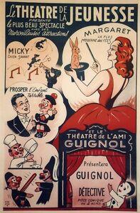 """""""theatre De La Jeunesse Et De L'ami Guignol"""" Affiche Originale Entoilée Harfort 2rg582hr-07175349-882451021"""