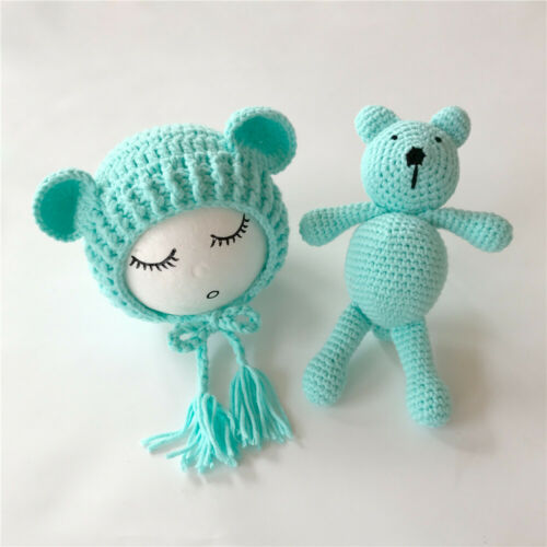 Newborn Baby Hat+Bear Toy Girl Boys Crochet Knit Costume Photography Props New.