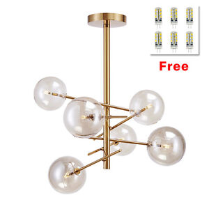 Details About Modern 6 Gl Globes Ceiling Light Chandelier Pendant Lighting Gold