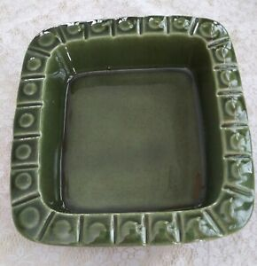 Vintage-Haeger-Green-Square-Button-Pattern-Dish-Planter-Mid-Century-EXCELLENT