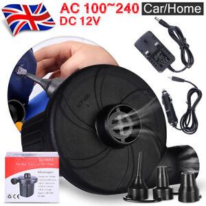 Fast Electric UK Plug Air Pump Inflator Airbed Bed Paddling Swimming Pool CAR