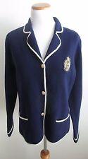 LAUREN RALPH LAUREN Navy Merino Wool Crested Sweater Blazer Jacket Sz. L