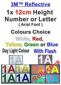 1x 12cm-Height 3M Reflective Vinyl Sticker For Street Letterboxes (Arial Font)