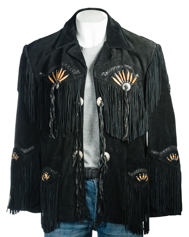 men black Occidental Vestir Abrigo Cuero de Gamuza Flecos y Huesos Chaqueta