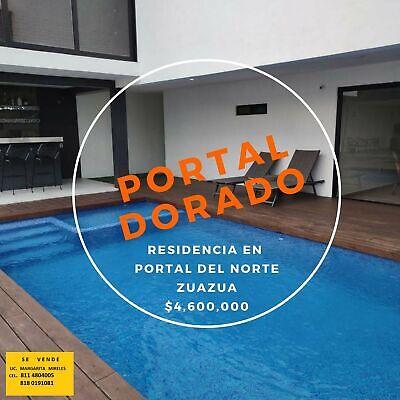 ***SE VENDE RESIDENCIA SECTOR PRIVADO PORTAL DORADO EN PORTAL DEL NTE., ZUAZUA $4600 MIL, YY, BANCO*