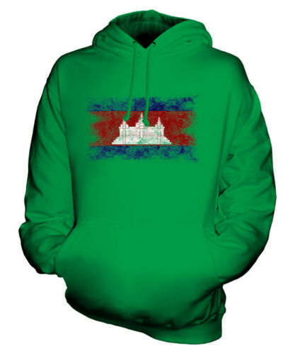 CAMBODIA DISTRESSED FLAG UNISEX HOODIE TOP KAMPUCHEA FOOTBALL CAMBODIAN