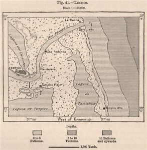 tampico mexico 1885 old antique vintage map plan chart ebay