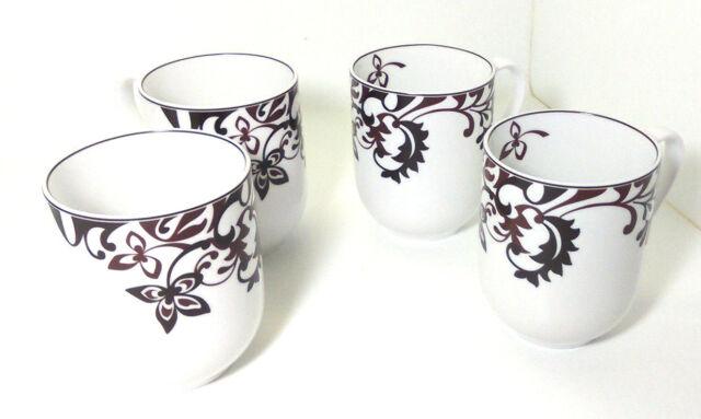 Set of 4 Mikasa Chocolate Swirl Porcelain Coffee Mugs Cups Gourmet ...