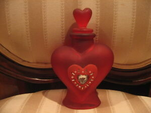 Valentines Day Red Heart Frosted Glass Perfume Bottle with Faux Diamond Heart