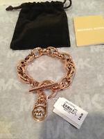 Michael Kors Toggle Chain Link MK Logo Bracelet ROSE GOLD pouch & box