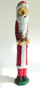 """Hand Crafted Carved Tall Thin Resin Santa Claus Figure 9.5"""""""