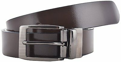 One-Piece 100% Genuine Leather D Brown Belt with Removable Buckle